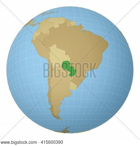 Globe Centered To Paraguay. Country Highlighted With Green Color On World Map. Satellite Projection