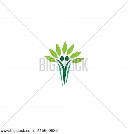 Healthy Life People Logo Icon Template. Green Color  Simply  Minimalist.