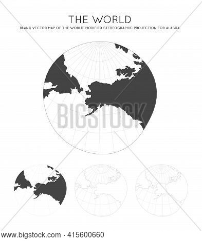 Map Of The World. Modified Stereographic Projection For Alaska. Globe With Latitude And Longitude Li