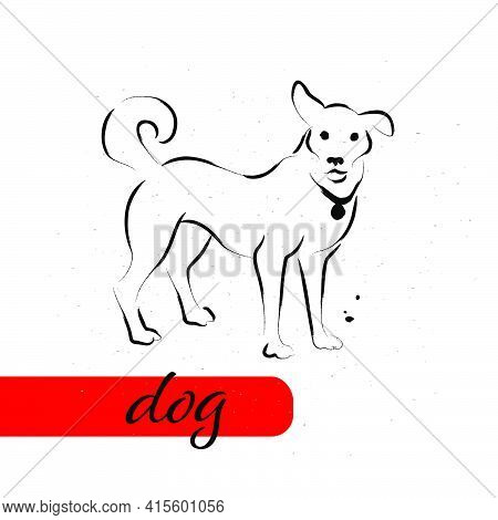 Chinese Dog Year Calendar Animal Silhouette Isolated On White Textured Background. Vector Hand Drawn