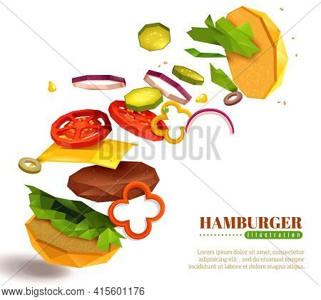 3d Flying Hamburger With Sesame Bun, Lettuce And Sliced Vegetables, Cheese, Cutlet On White Backgrou