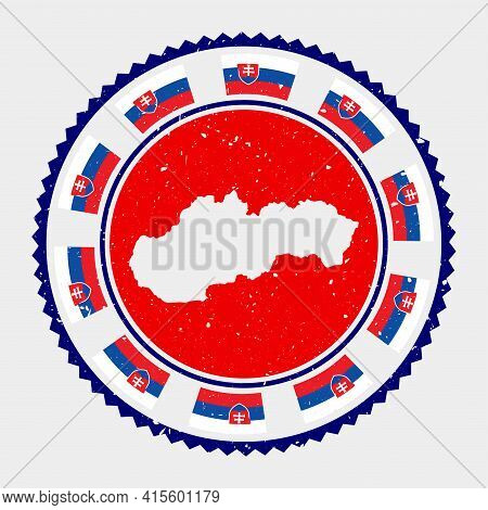 Slovakia Grunge Stamp. Round Logo With Map And Flag Of Slovakia. Country Stamp. Vector Illustration.