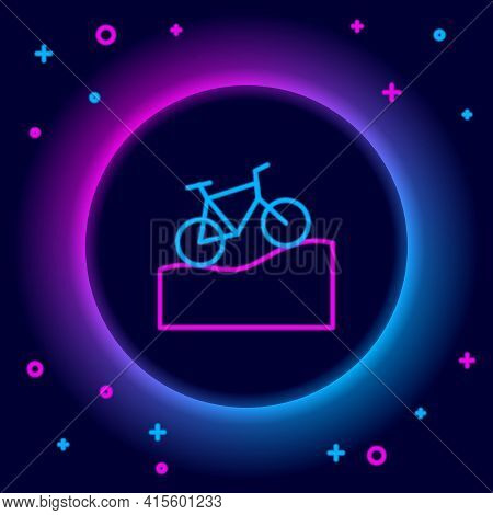 Glowing Neon Line Mountain Bicycle Icon Isolated On Black Background. Bike Race. Extreme Sport. Spor