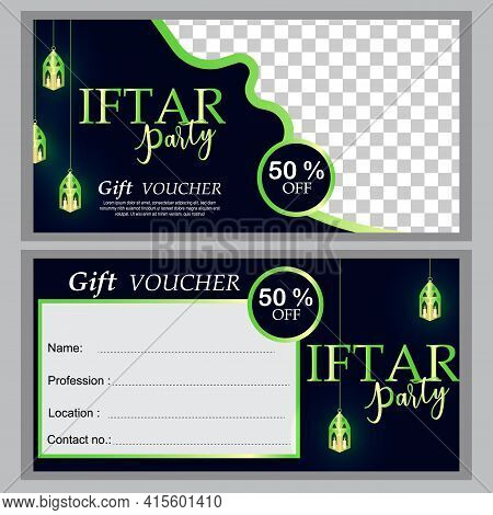 Iftar Party Invitations Greeting Card And Banner. Gift Voucher Colorful. Use For Cover, Poster, Flye