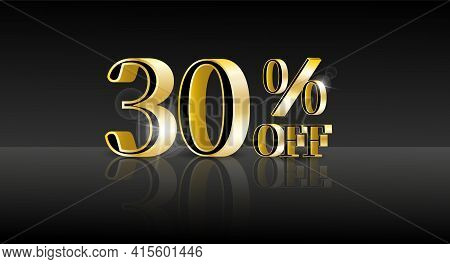 30% Off. Trendy 3d Design Template With Black Banner For Marketing Advertising Design. Business Tech