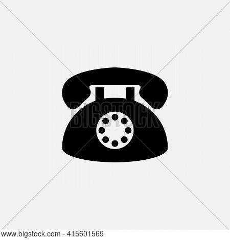 Black Vintage Old Telephone Isolated On White. Vector Vintage Illustration