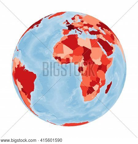 World Map. Orthographic Projection. World In Red Colors With Blue Ocean. Vector Illustration.