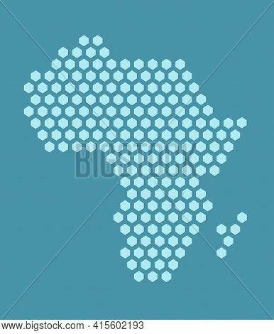Blue Hexagonal Pixel Map Of Africa. Vector Illustration African Continent Hexagon Map Dotted Mosaic.