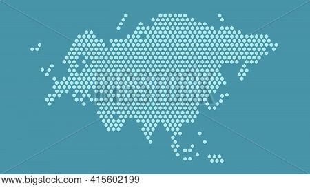 Blue Hexagonal Pixel Map Of Eurasia. Vector Illustration Eurasian Continent Hexagon Map Dotted Mosai