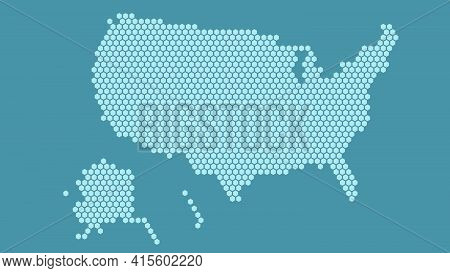 Blue Hexagonal Pixel Map Of Usa. Vector Illustration United States Hexagon Map Dotted Mosaic. Americ