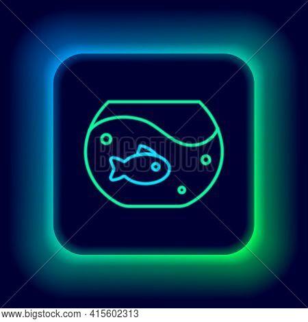 Glowing Neon Line Aquarium With Fish Icon Isolated On Black Background. Round Glass Aquarium. Aquari