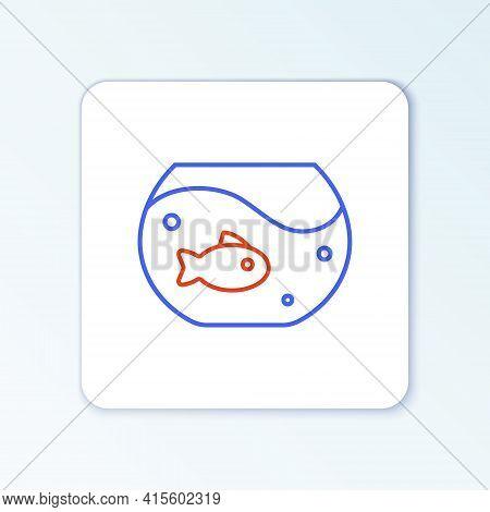 Line Aquarium With Fish Icon Isolated On White Background. Round Glass Aquarium. Aquarium For Home A
