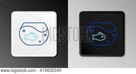 Line Aquarium With Fish Icon Isolated On Grey Background. Round Glass Aquarium. Aquarium For Home An