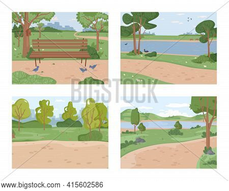 Landscape Park Set, Duck Pigeon Birds And River Ponds, Green Trees And Grass Scenery, Bench And Path