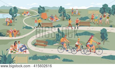 People In Park Leisure Outdoor Activity, Family Picnic And Summer Rest. Vector People Sitting On Ben