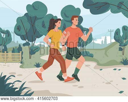 Running Man And Woman In City Park, Cityscape Scenery Landscape On Background. Vector Green Trees, J
