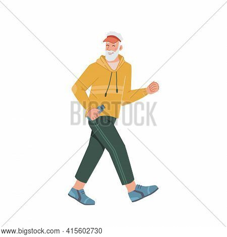 Elderly Man Running Jogging Side View Isolated Flat Cartoon Portrait. Vector Middle Age Bearded Male
