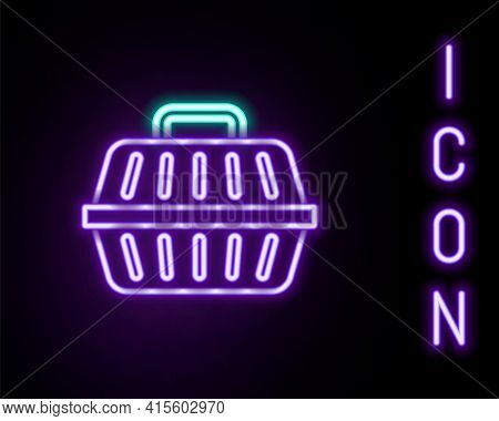 Glowing Neon Line Pet Carry Case Icon Isolated On Black Background. Carrier For Animals, Dog And Cat