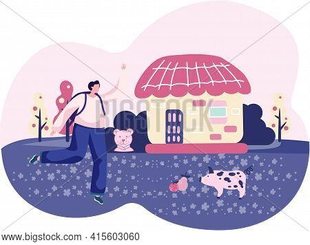 Vacations Farm, Farmhouse, Rural Landscape, Animal. Girl Spends Time And Rests In Village With Pig