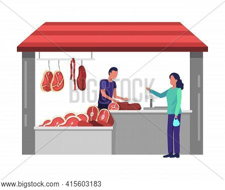 Butcher Man At Store