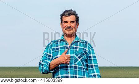 Portrait Happy Mature Older Man Is Smiling. Old Senior Farmer. Thumb Up Feeling Confident. Elderly M