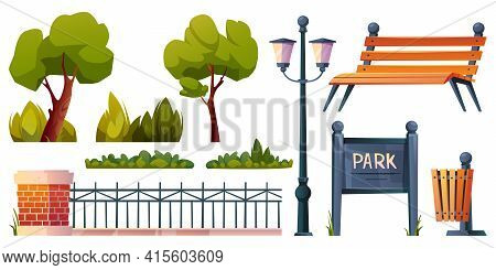 Park Elements Set Isolated Cartoon Icons. Vector Green Trees, Grass And Bushes, Street Lamp And Wood