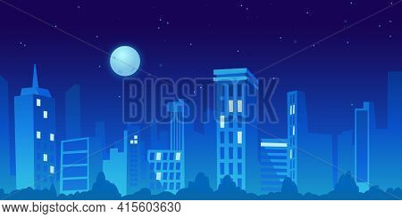 Panorama City In Distance At Night. Vector Cityscape With Skyscrapers And Family Houses, Skyline Ill