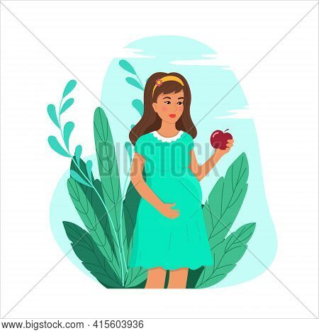 Healthy Lifestyle Of Pregnant Woman Concept, Happy Pregnant Woman Holding An Apple In Her Hand, Expe