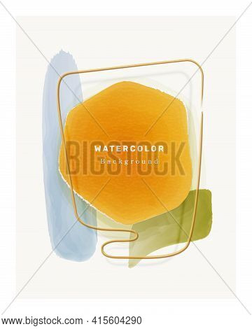 Watercolor Backgrounds Color Design Elements Isolated Abstract Painted Shapes In Frame. Vector Liqui