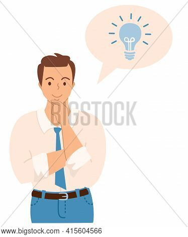 Flat Vector Illustration. The Man Had A Good Idea. The Guy Is Pondering The Idea.
