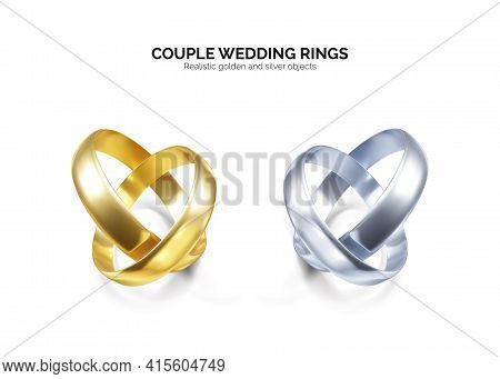 Couple Of Silver Or Platinum Wedding Rings. 3d Golden Jewelry Object. Vector Illustration Isolated O