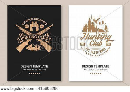 Hunting Club. Vector. Eat, Sleep, Hunt. Vector Illustration Flyer, Brochure, Banner, Poster Design W