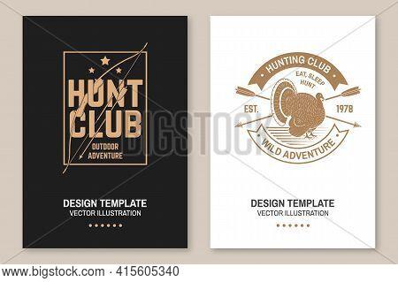 Hunting Club Badge. Eat, Sleep, Hunt. Vector Flyer, Brochure, Banner, Poster Design With Turkey, Hun