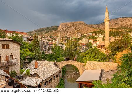 Mostar Old Town cityscape at sunset, Bosnia and Herzegovina