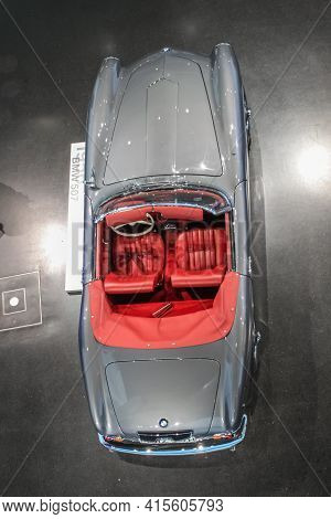 Germany, Munich - April 27, 2011: Bmw 507 Roadster In The Exhibition Hall Of The Bmw Museum. The Car