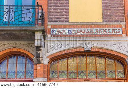 Kampen, Netherlands - April 22, 2020: Stained Glass Windows Of A Retro Bakery In Kampen, Netherlands