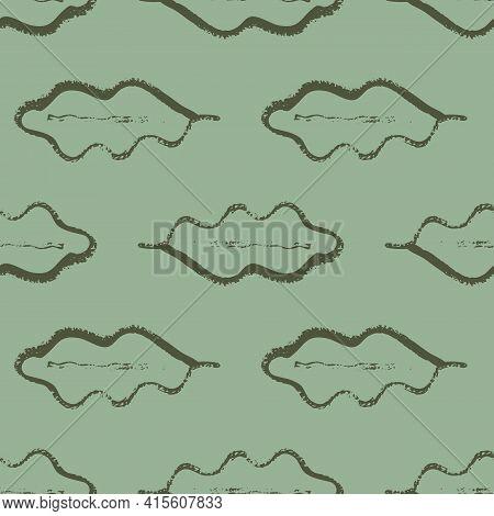 Oak Leaf Monochrome Seamless Vector Pattern Background. Simple Calligraphy Brush Foliage Sage Green