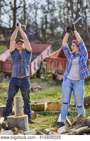 Lumberjack Teaching His Apprentice How To Split Logs With The Heavy Axe