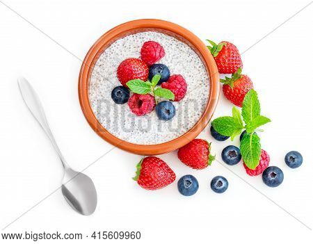 Chia Seeds Pudding  With Fruits And  Berries Isolated On White Background. Chia Seeds Yogurt. View F