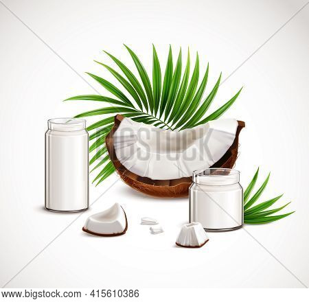 Coconut Closeup Realistic Composition With Nut Segments White Flesh Pieces Full Glass Jars Milk Palm