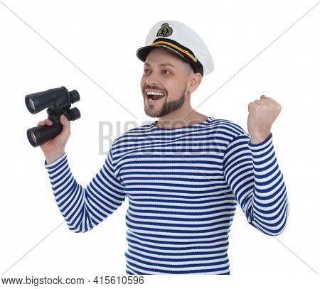 Happy Sailor Man With Binoculars On White Background