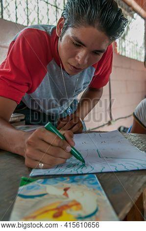 Rivas, El Salvador. 03-27-2019. An Adolescent Is Writing During School In The Town Of Rivas In El Sa