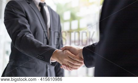 Handshake, Both business people shake hands to celebrate financial success, Build friendship by hold