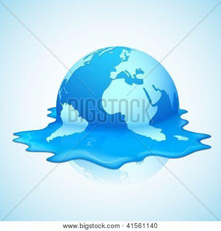 illustration of melting earth showing global warming