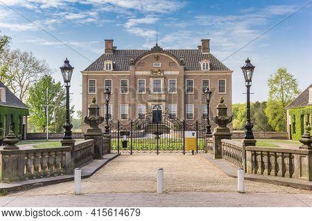 Ommen, Netherlands - April 27, 2020: Entrance To The Historic Eerde Castle In Ommen, Netherlands