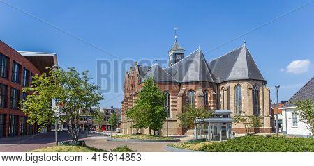 Rijssen, Netherlands - April 27, 2020: Panorama Of The Historic Schildkerk Church In Rijssen, Nether