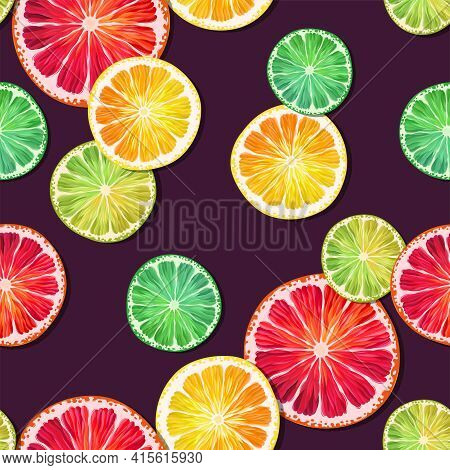 Seamless Pattern With Lemon, Lime And Grapefruit