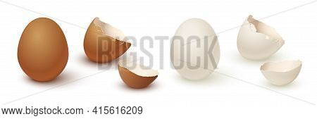 Egg And Broken Empty Eggshell Isolated On White Background. Vector Realistic White And Brown Eggs.