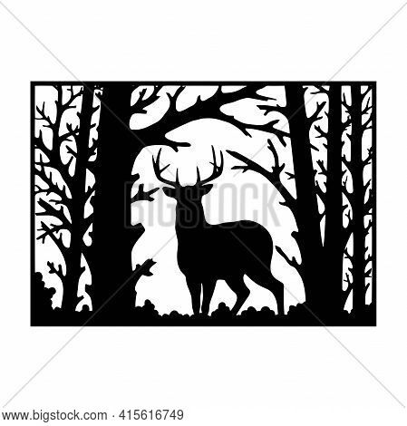 Deer, Male - Wildlife Stencils - Deer Silhouette, Wildlife Clipart Isolated On White
