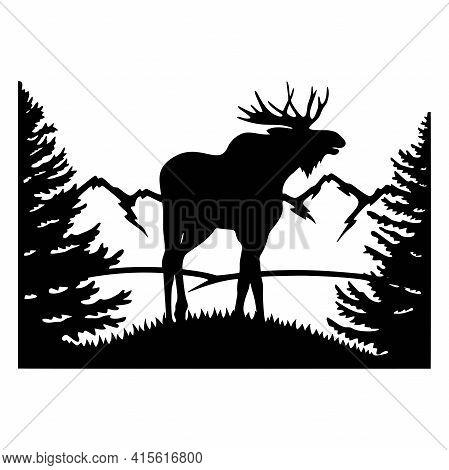 Elk, Moose - Wildlife Stencils - Elk Silhouette, Wildlife Clipart Isolated On White